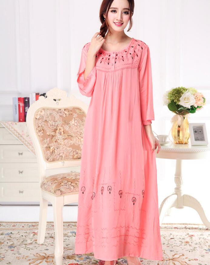 Women Long Loose Casual Bourette Embroidery Sleepwear Soft Night Dress Pajamas Women's Night Gowns Robes RB291