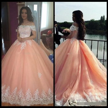 2019 Blush Pink Ball Gown Quinceanera Dresses Short Sleeves Appliques Plus Sweet 16 prom Dresses Arabic vestidos de 15 anos