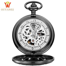 NEW Arrival Pocket Watch OUYAWEI Mens Fashion Mechanical Skeleton Clock Hand Wind  Black Stainless Steel Case White Dial 2019