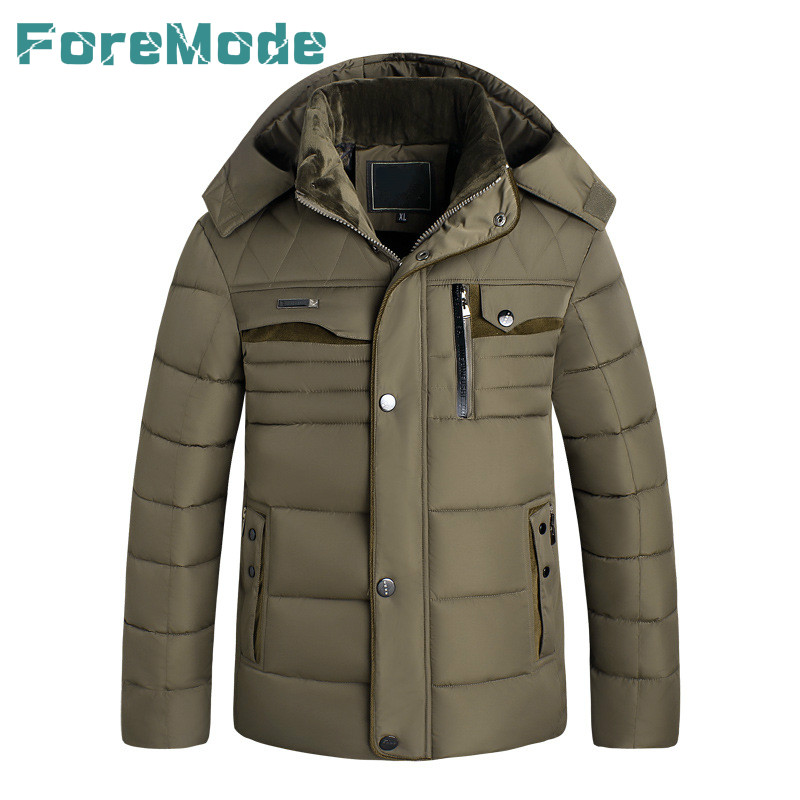 ForeMode New Winter Jacket Men 2016 Men Casual Coat Thick Stitching Down Jacket Cotton Cold Jacket Size 3XL