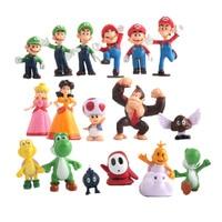 17 шт./компл. Super Mario Bros Игрушечные лошадки 2-6 см Йоши динозавр рисунок игрушка Супер Марио и Луиджи персик Купа жаба куклы украшения