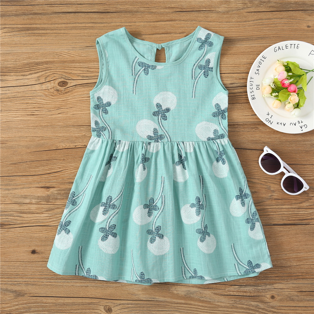 HTB1X.wsuFuWBuNjSszbq6AS7FXaj Kids Dresses for Girls Summer Girl Sleeveless Dress Toddler Flower Print Princess Dress 1 2 3 4 5 6 7 Years Children's Clothing