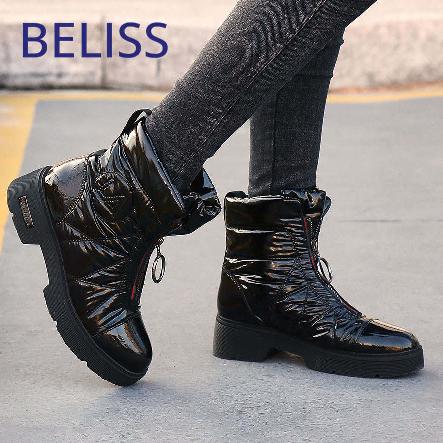 BELISS 2018 winter snow boots women down patchwork fashion mid calf boots ladies round toe wedges