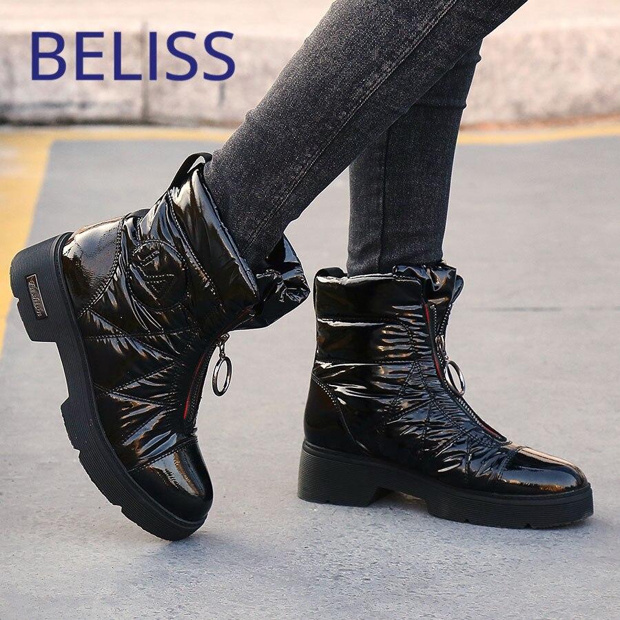 BELISS 2018 zima śnieg buty damskie w dół patchwork moda połowy łydki buty damskie okrągłe toe kliny wygodne buty damskie B79 w Buty do połowy łydki od Buty na  Grupa 1