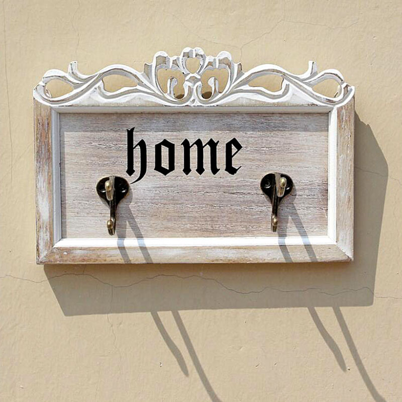 Retro Wooden Hooks Creative Rustic Home Iron Wooden Board Wall Decorative Hook Key Hat Clothes Hanger
