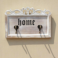 Retro Wooden Hooks Creative Rustic Home Iron Wooden Board Wall Decorative Hook Key Hat Clothes Hanger Home Store Decoration Gift