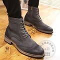 Juventud Zip Brogue Moda Puntera Chukker Botas de Invierno Para Hombre Hombres Zapatos Winkle Selector de Plantilla de piel de Vaca Aumento Tobillo 2016 Gradiente