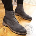 Youth Zip Brogue Fashion Cap Toe Chukka Mens Winter Boots Men Shoes Winkle Picker Cowhide Insole Increase Ankle 2016 Gradient