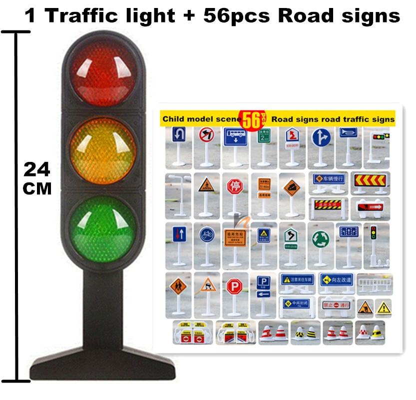 Stor Storlek Trafik Leksakslampor 24cm och 56st vägskyltar Barn Modell Scen Simulering Lärande hjälpmedel Levande röst trafikljus