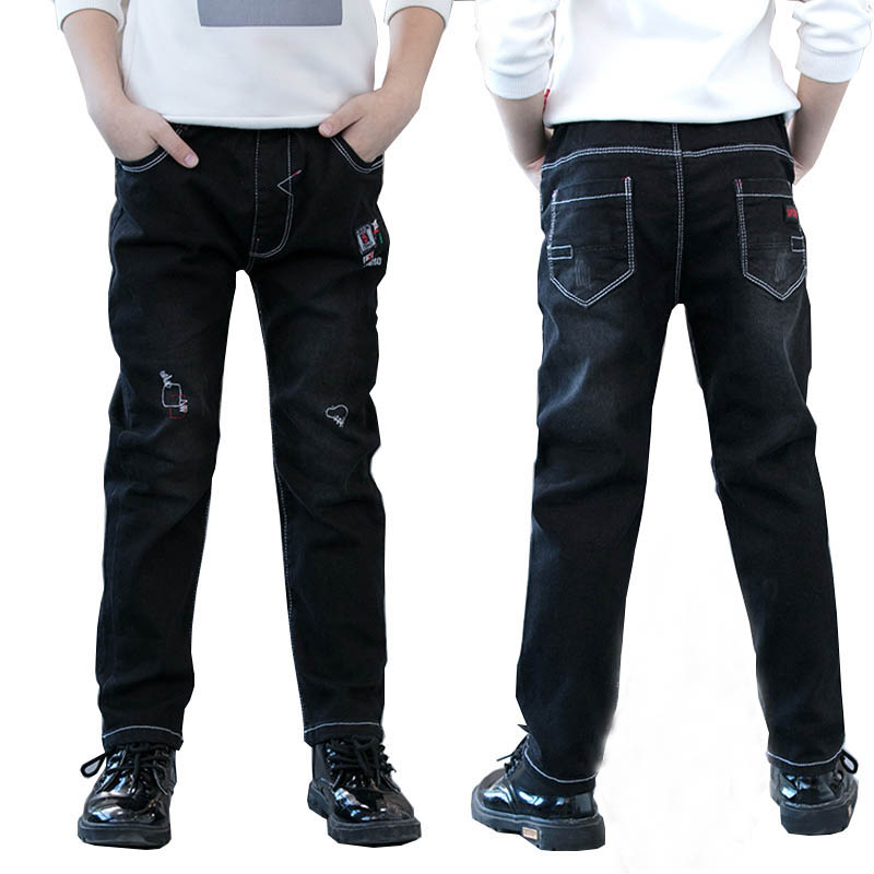 Boys Winter Pants Fleece Warm Elastic Waist Teenage Boys Jeans for Boys Trousers Denim School Children Jeans Kids Jeans Pantalon japan style brand mens straight denim cargo pants biker jeans men baggy loose blue jeans with side pockets plus size 40 42 44 46