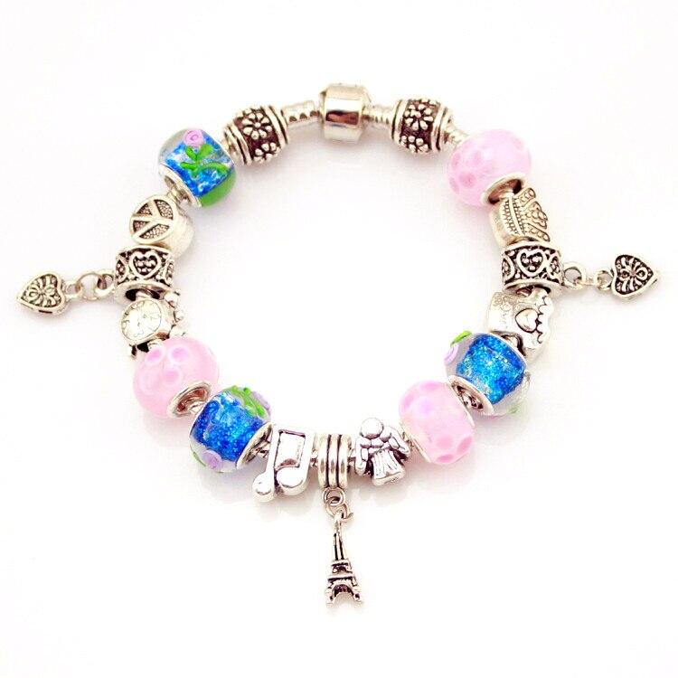 MPB Diana Silber überzogene Charme Armband für Frauen Schlange Kette & Murano Glas Perlen Marke Armband Authentische Schmuck