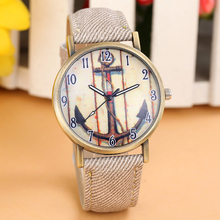 Women Men Watches Retro Anchors Vogue WristWatch Cowboy Leather Clock Ladies Band Analog Quartz Watch