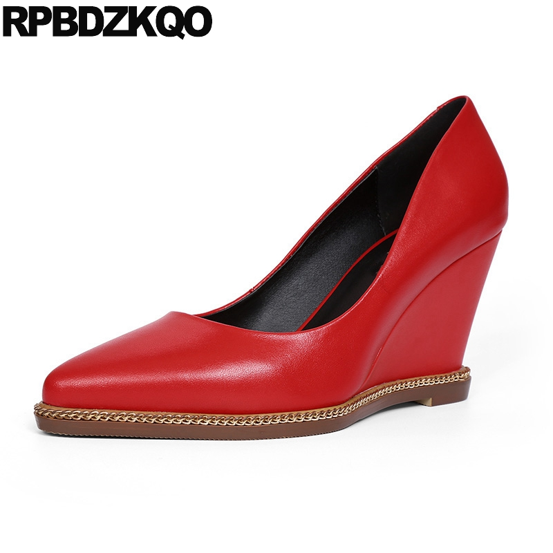 Pointed Toe Office Wedge Shoes Ladies Slip On Size 4 34 2017 Metal Red High Heels Women Genuine Leather Elegant New Chinese new stylish designer lady high heels shoes pointed toe concise slip on office career shoes woman string metal bead shoe edge