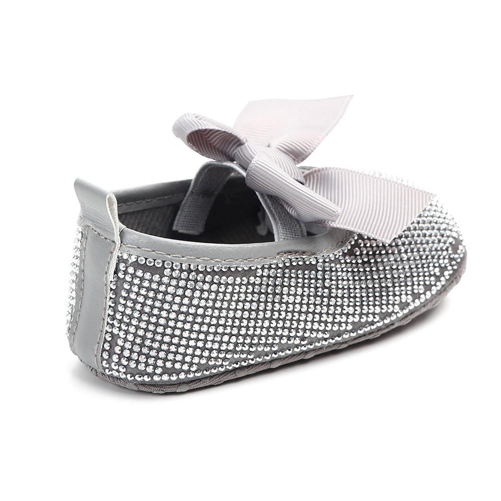 Купить с кэшбэком Newborn Baby Girl Shoes Princess Party Shoes Toddler Footwear Infant Bows First Walkers Pink Silver Sparkling Rhinestones Flats