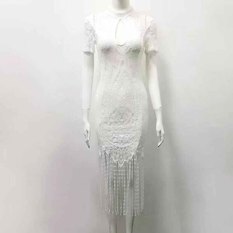 Najwyższej jakości biała koronkowa z krótkim rękawem Tassel sukienka bandażowa ze sztucznego jedwabiu Party letnia sukienka