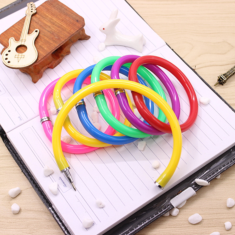 cheap 4pcs / lot Creative Cute Colorful Bracelet Pen Hand Ring Wrist Length Pen Ballpoint School Supplies Gift