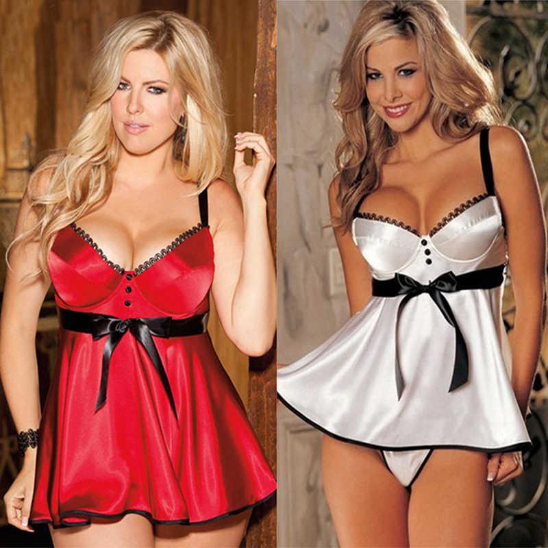 בתוספת גודל 5xl 6xl נשים העמוק Mesh לראות דרך סקסי תחרה ארוטית הלבשה תחתונה חליפת כותונת תחתונים סקסי חג המולד בגדים נשי