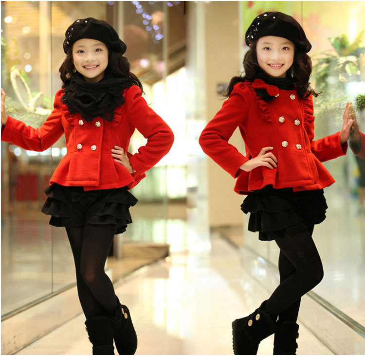 ФОТО Free shipping winter girl outerwear bow double-breasted round collar woolen cloth coat children clothing