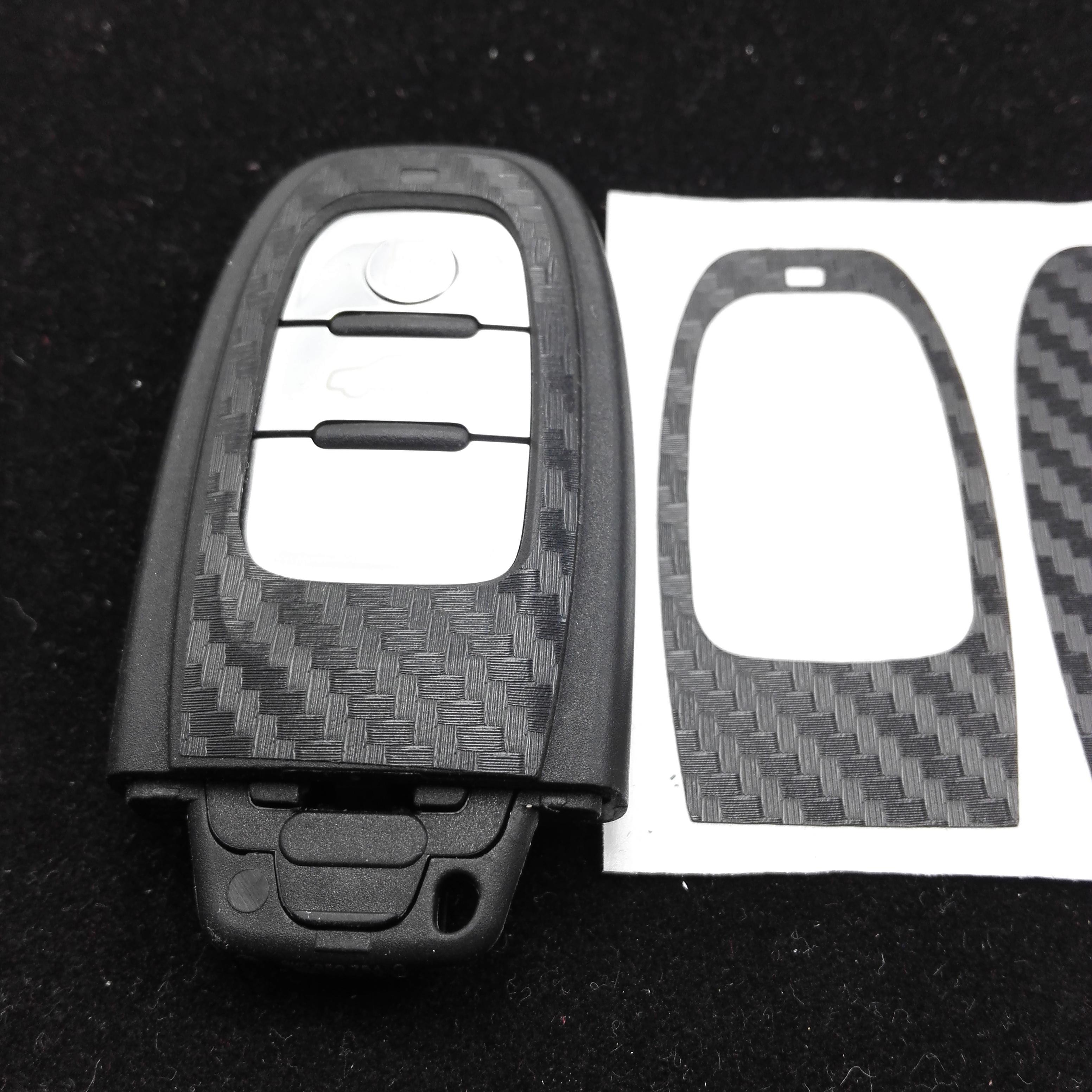 CAR-STYLING black Carbon Fiber Car Key Sticker For Audi A4 A6 RS4 A5 A7 A8 S5 RS5 8T Q5 S5 S6 Key Refitting Accessories