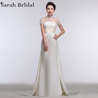 Sexy Sheer High Neck Mermaid Wedding Dresses Sequins Pearls Short Sleeves Satin Bridal Gown Real Sample