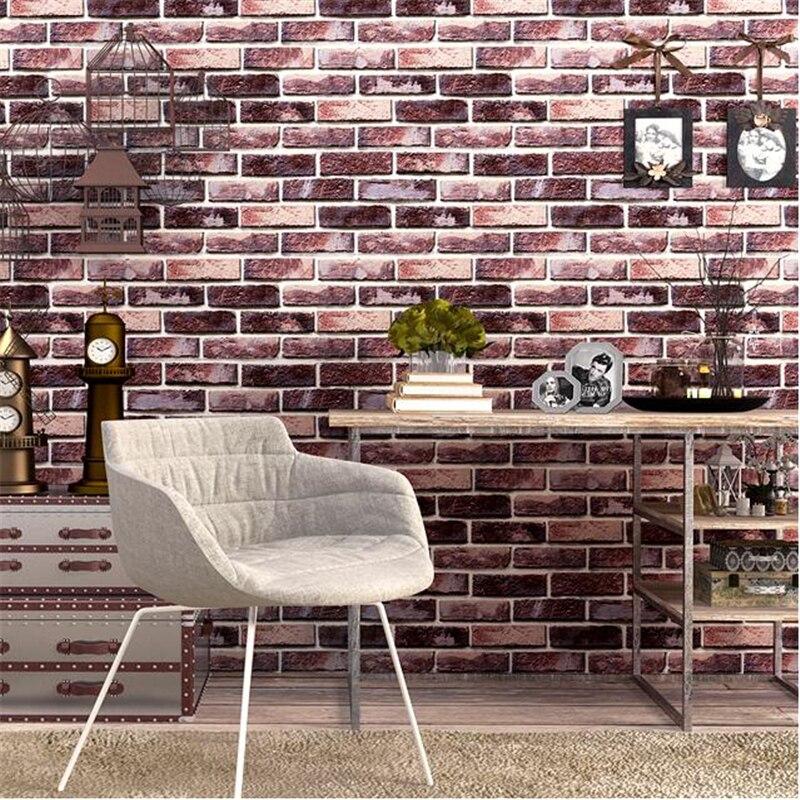 Beibehang High End Retro Nostalgic 3d Brick Wallpaper