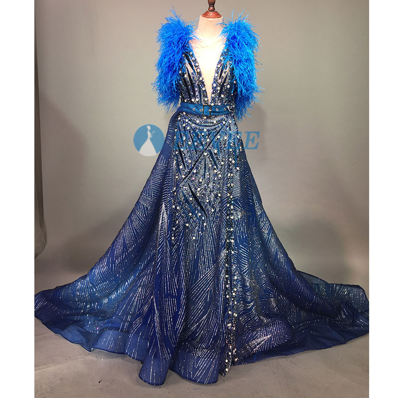 Blue feathers sequins crystals dress costumes sexy big skirt female singer stage wear Birthday evening dress belt