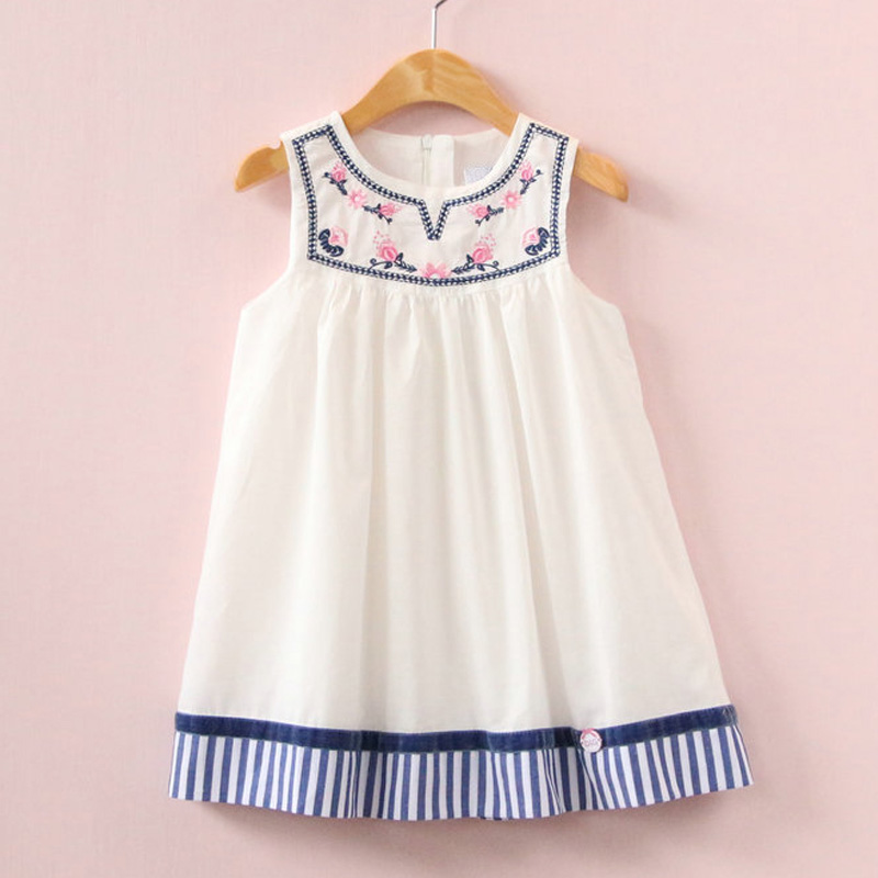 2017 Summer girls dress embroidery dress for kids clothes fashion dresses princess children summer vestidos children dresses 2017 summer fashion style girls lace princess dress kids sleeveless embroidery cute clothes dress for 3 7y
