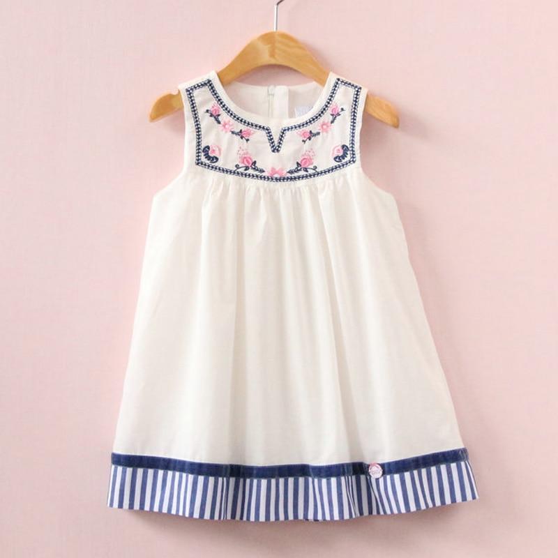 2017 Summer girls dress embroidery dress for kids clothes fashion dresses princess children summer vestidos бумажные обои parato fiori country 2506