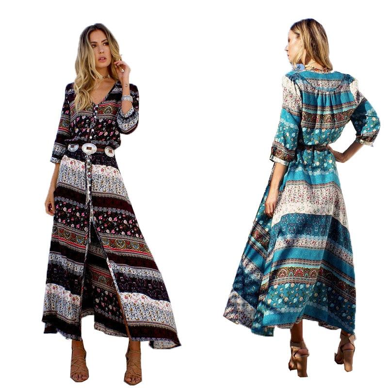 Vintage Women Summer Beach Boho Maxi Dress 2017 High Quality Brand V-Neck Striped Print Long Dresses Feminine Plus Size