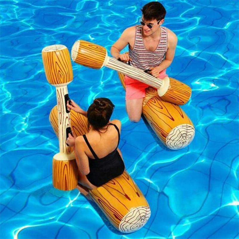 Summer Outdoor Beach Pool Inflatable Swimming Rings Women Men Double Beat Swim Log Stick Set Ring Pool Water Sports