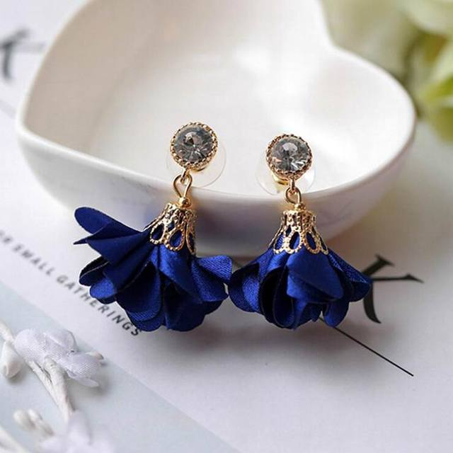 MENGJIQIAO 2018 Korean New Shiny Crystal Cloth Flower Drop Pendientes Mujer Moda Summer Accessories Cute Boucles D'oreilles  3