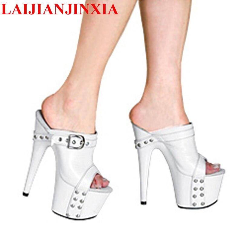 Plateauschuhe 7 G075 Schuhe Laijianjinxia Maß Zoll Hand High Rutschen Cm 17 Weiß Frauen g089 Ultra Marke Heel Heels Hausschuhe wwBtPqxCg