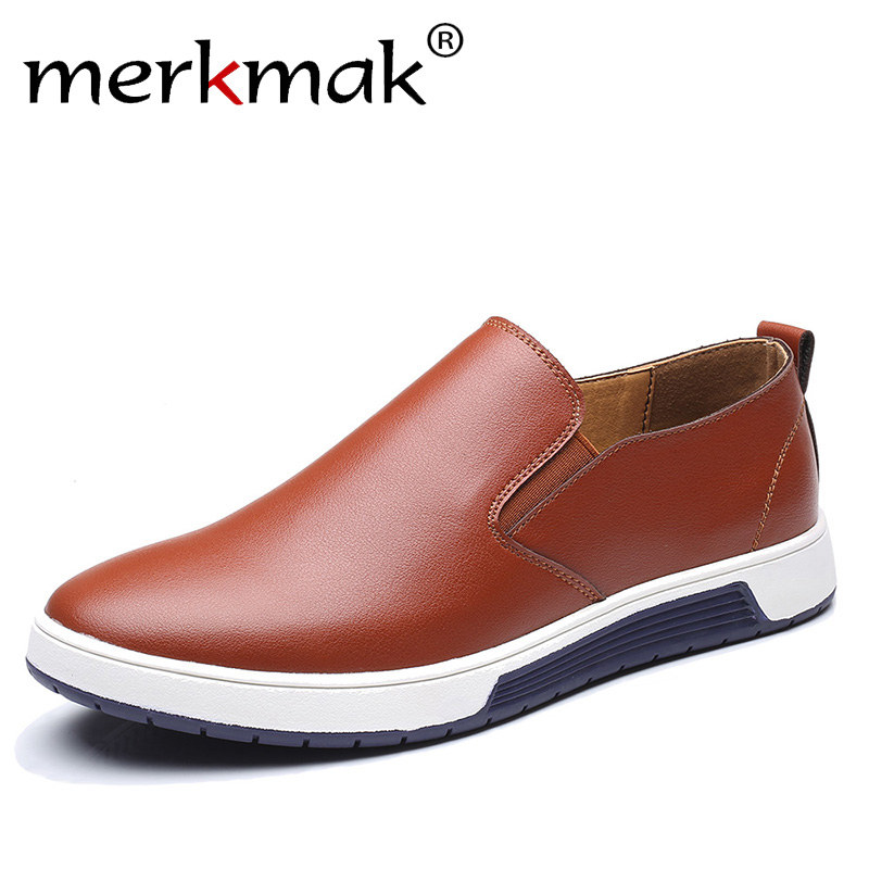 Merkmak Big Size 37-48 Autumn Men Leather Loafers Slip On Casual Shoes For Mens Moccasins Brand Italian Designer Shoes Leisure branded men s penny loafes casual men s full grain leather emboss crocodile boat shoes slip on breathable moccasin driving shoes
