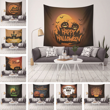 Trick Of Halloween Party Tapestry Wall Hanging For Home Decor Castle Bat Pumpkin Printed Wall Tapestry Carpet Holiday Gifts