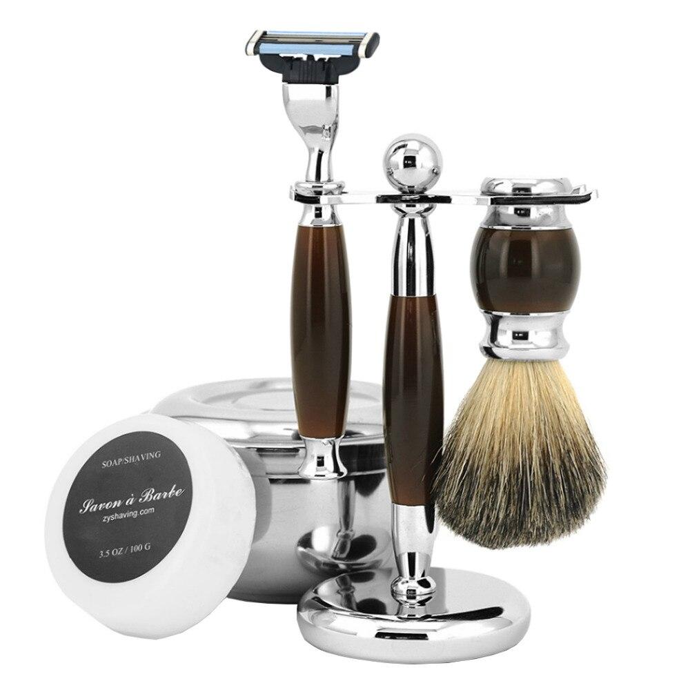 ZY 5pcs/set Shaving Razor For Man 3 Blade Razor Badger Shaving Brush Stand Holder +Stainless Steel Shave Soap Bowl With Lid