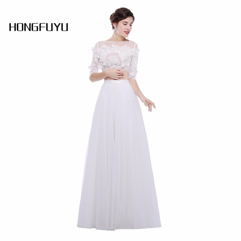 White Tulle Prom Dresses 2018 New Fashion Evening Party Dress Vestido de Festa Longo Two Pieces Half Sleeves Robe De Soiree