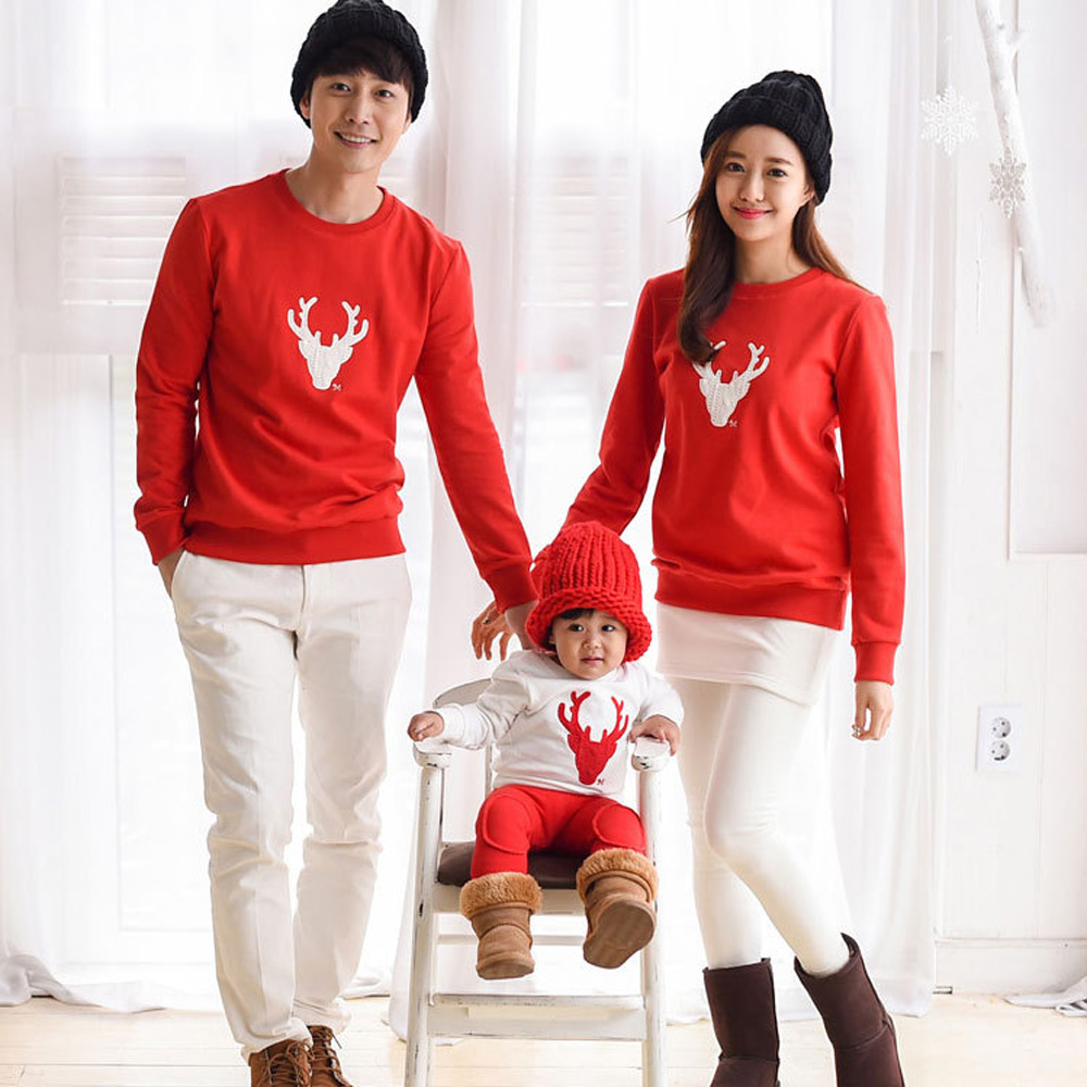 Family Matching Christmas Clothes Cotton Long Sleeve Hoodies Kids Cartoon Sweatshirts Mother and Daughter Outfits Shirt