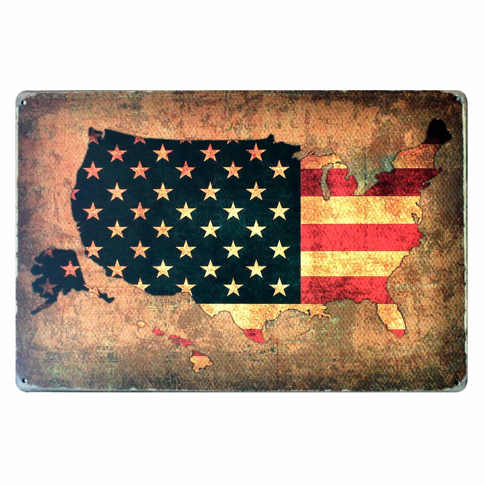[ Mike86 ] United States Flag MAP Metal Signs Gift PUB Wall art Painting Poster Bar Decor AA-114 Mix order 20*30 CM