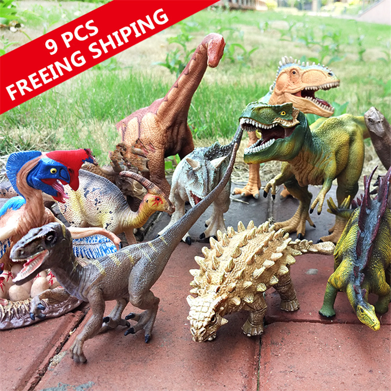 Kids Toy 9 pcs Dinosaur Animal Models Set Figures Animals Toys Dinosaurs Toys Best Gifts For Kids Free Shipping 12pcs set children kids toys gift mini figures toys little pet animal cat dog lps action figures