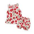 2016 novas crianças do sexo feminino linda cereja vestido de renda Colete vestuário + shorts 2 lanoso