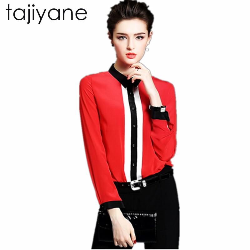 TAJIYANE Women Body Blouse Shirt Long sleeve Polo White Red Black Spring Autumn Female Clothing korean Work Wear Tops New LD162