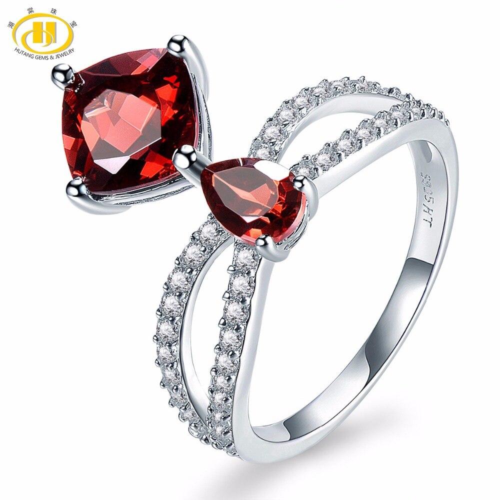 Hutang натуральный камень гранат и аналогичные Кольца с алмазами 925 серебро Обручение к ...