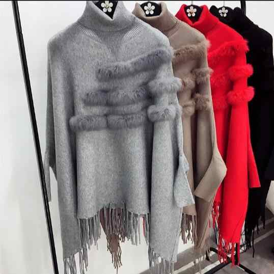 Pull Spring And Winter Women High Collar Real Rabbit Fur Cloak Pullover Lady Bat Sleeves Tassel Poncho Sweater Knitwear E953