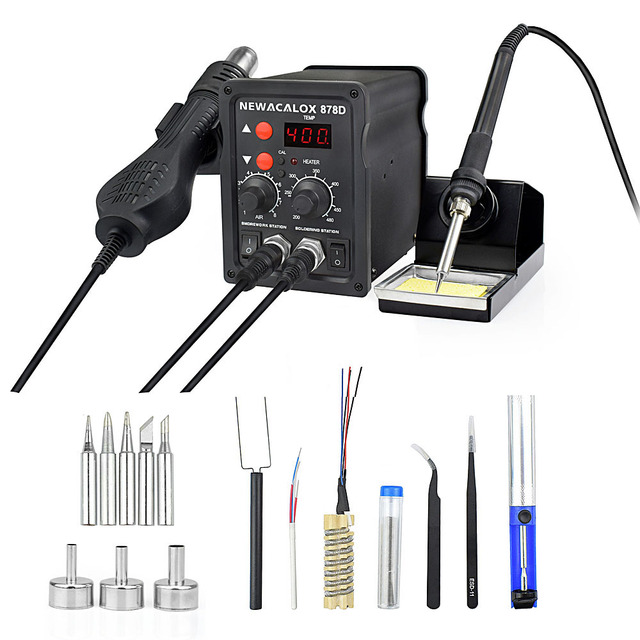 NEWACALOX EU Plug 220V 700W  Rework Soldering Station Thermoregulator  Soldering Iron Hot Air Desoldering Gun Welding Tool Kit 3