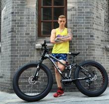LAUXJACK Mountain bike steel frame double-sided system 24 speed Shimano disc mechanical brakes 26