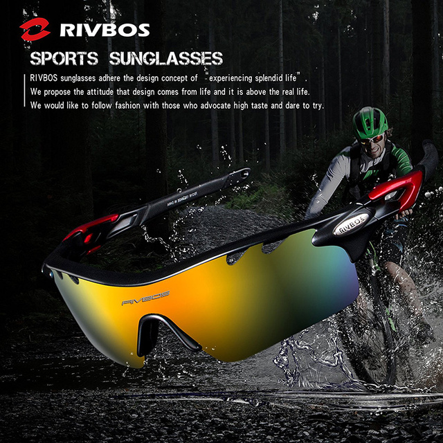 RIVBOS Sports Sunglasses Men Women Cycling Glasses Eyewear with 5 Lens Polarized For Driving Fishing Running Gafas Ciclismo 2017