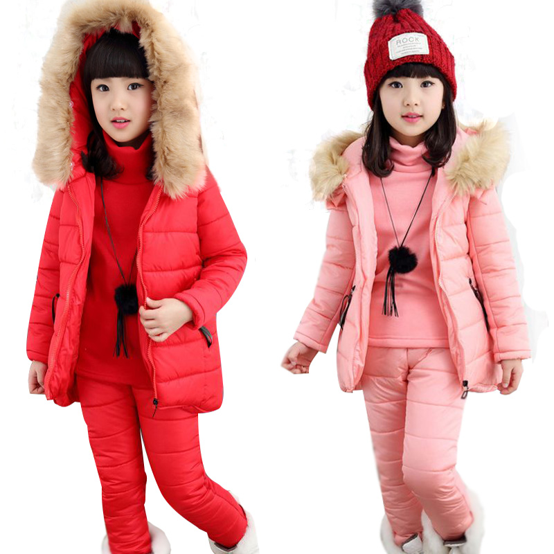 ФОТО Teenage Girls Clothing Sets Fashion Children Clothing Set Cotton Kids Tracksuit Hooded Baby Girl Winter Clothes Sets Thick Suits