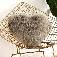 Heart Shaped Faux Wool Fur Cushion Covers Fluffy Soft Plush Throw Pillow Cover Pillowcase Pillowslip Sofa Car Decor Washable