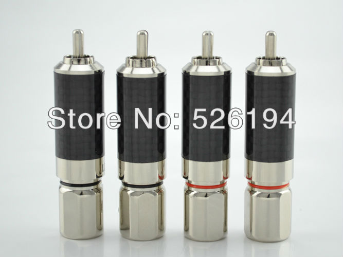 Free shipping 4pcs Viborg Rhodium Plated Carbon Fiber RCA Connector Plug Phono jack free shipping 4 colour gold plated rca socket rca connector 8pcs lot