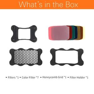 Image 2 - Speedlite Flash Rubber Honeycomb Grid + 7pcs Color Gels Filters for Canon Nikon Sony Godox Yongnuo Camera Flash Speedlite Light
